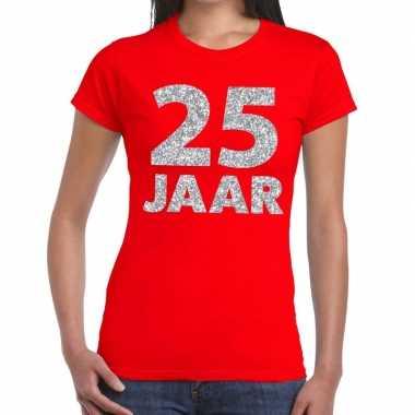 Goedkope jaar zilver glitter verjaardag/jubileum shirt rood dames