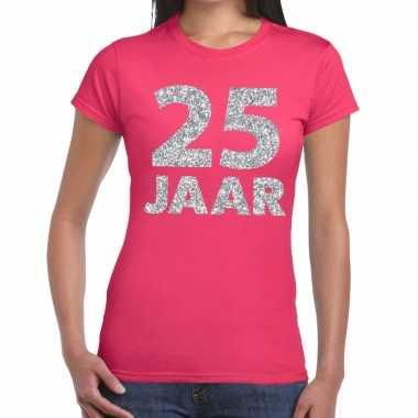 Goedkope jaar zilver glitter verjaardag/jubileum shirt roze dame