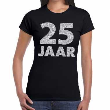 Goedkope jaar zilver glitter verjaardag/jubileum shirt zwart dames