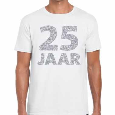 Goedkope jaar zilver glitter verjaardag/jubilieum kado shirt wit here