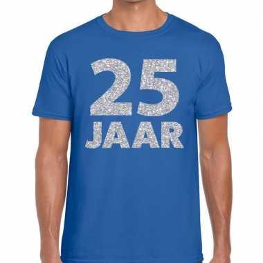 Goedkope jaar zilver glitter verjaardag/jubilieum shirt blauw heren