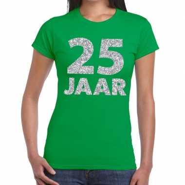Goedkope jaar zilver glitter verjaardag/jubilieum shirt groen dames