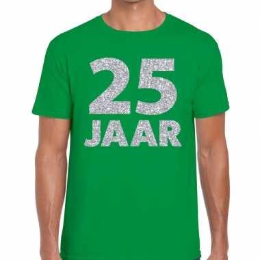 Goedkope jaar zilver glitter verjaardag/jubilieum shirt groen heren