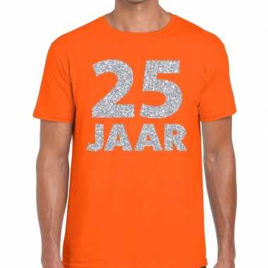 Goedkope jaar zilver glitter verjaardag/jubilieum shirt oranje heren
