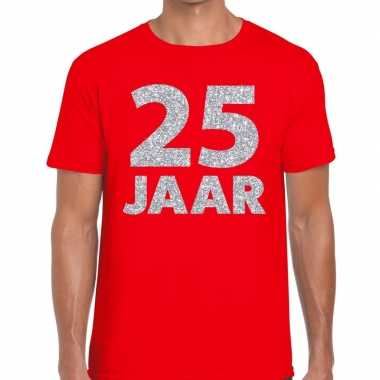 Goedkope jaar zilver glitter verjaardag/jubilieum shirt rood heren