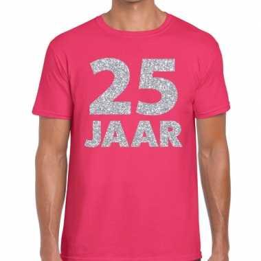Goedkope jaar zilver glitter verjaardag/jubilieum shirt roze heren
