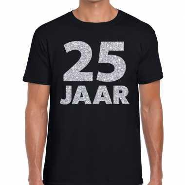Goedkope jaar zilver glitter verjaardag/jubilieum shirt zwart heren