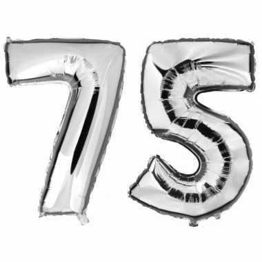 Goedkope jaar zilveren folie ballonnen leeftijd/cijfer