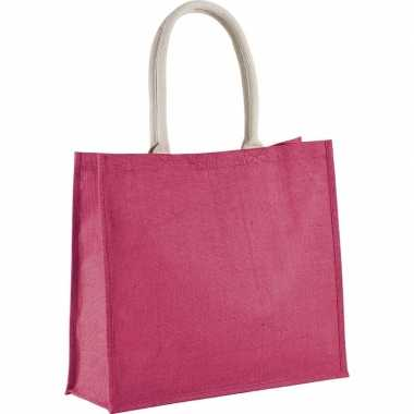 Goedkope jute fuchsia roze shopper/boodschappen tas