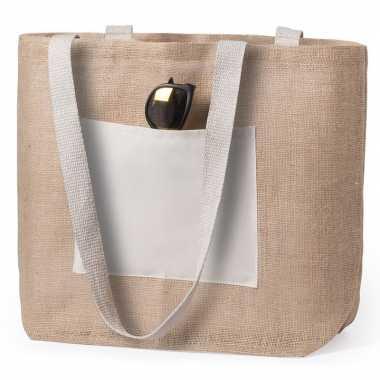 Goedkope jute/katoenen naturel shopper/boodschappentas