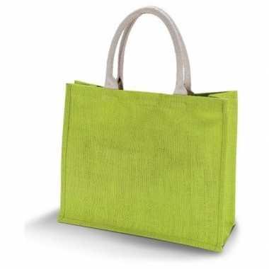 Goedkope jute lime groene shopper/boodschappen tas