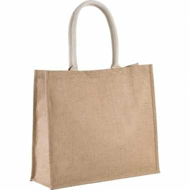 Goedkope jute naturel/beige shopper/boodschappen tas