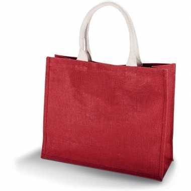 Goedkope jute rode shopper/boodschappen tas