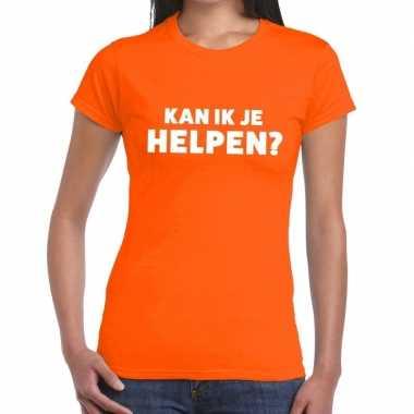 Goedkope kan ik je helpen beurs/evenementen t shirt oranje dames