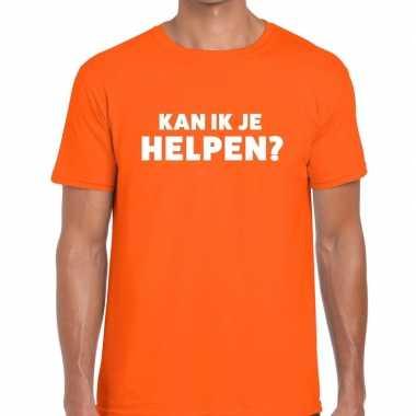 Goedkope kan ik je helpen beurs/evenementen t shirt oranje heren