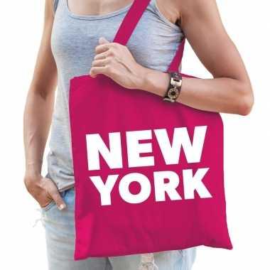 Goedkope katoenen amerika/wereldstad tasje new york roze