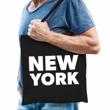 Goedkope katoenen amerika/wereldstad tasje new york zwart