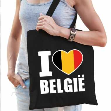 Goedkope katoenen belgisch tasje i love belgie zwart