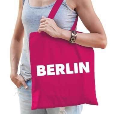 Goedkope katoenen berlijn/wereldstad tasje berlin roze