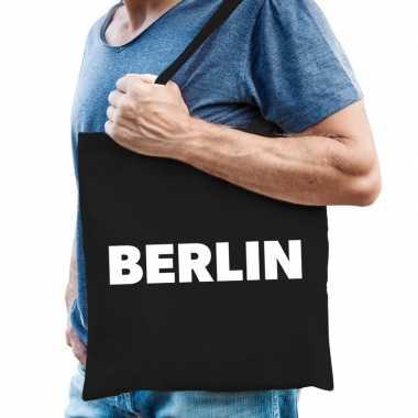 Goedkope katoenen berlijn/wereldstad tasje berlin zwart