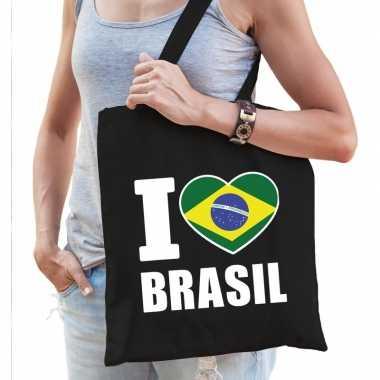Goedkope katoenen brazilie tasje i love brasil zwart