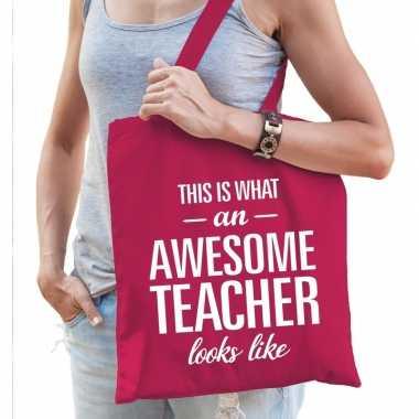 Goedkope katoenen cadeau juf tasje awesome teacher fuchsia roze