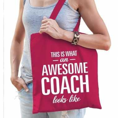 Goedkope katoenen cadeau tasje awesome coach fuchsia roze