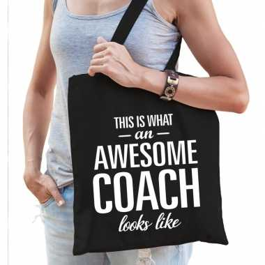 Goedkope katoenen cadeau tasje awesome coach zwart