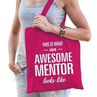 Goedkope katoenen cadeau tasje awesome mentor fuchsia roze
