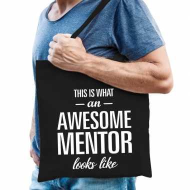 Goedkope katoenen cadeau tasje awesome mentor zwart