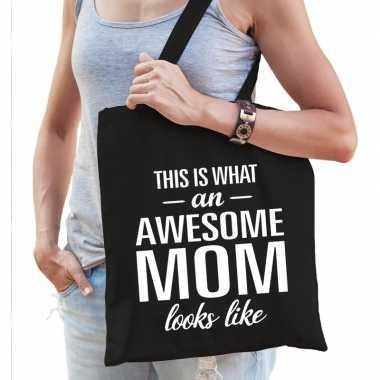 Goedkope katoenen cadeau tasje awesome mom zwart