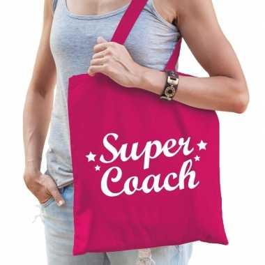 Goedkope katoenen cadeau tasje super coach fuchsia roze