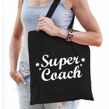 Goedkope katoenen cadeau tasje super coach zwart