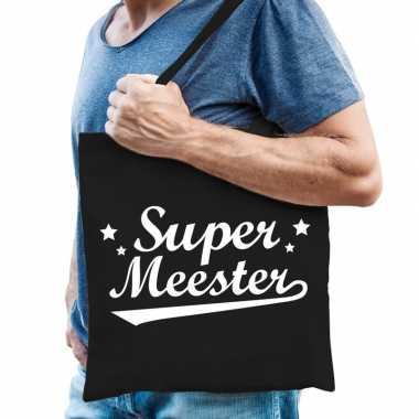 Goedkope katoenen cadeau tasje super meester zwart