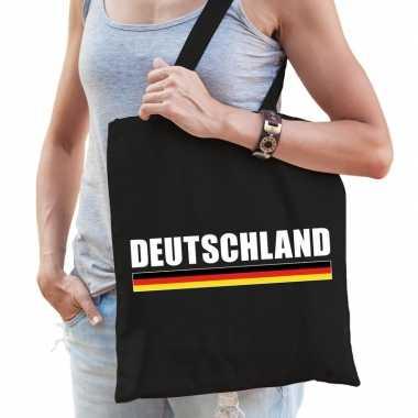 Goedkope katoenen duitsland supporter tasje deutschland zwart