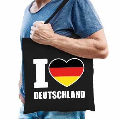 Goedkope katoenen duitsland tasje i love deutschland zwart