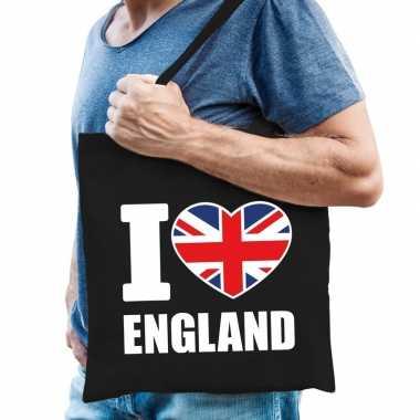 Goedkope katoenen engeland tasje i love england zwart