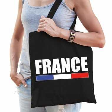 Goedkope katoenen frankrijk supporter tasje france zwart