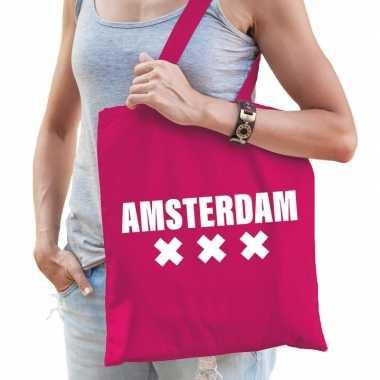Goedkope katoenen holland/wereldstad tasje amsterdam roze