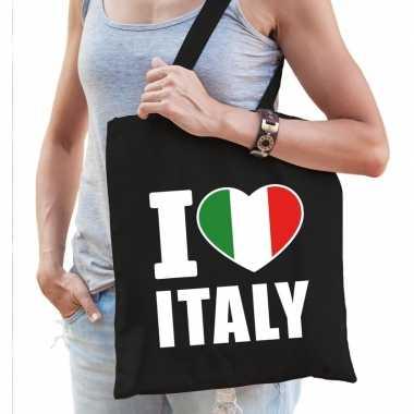 Goedkope katoenen italie tasje i love italy zwart