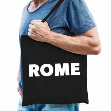 Goedkope katoenen italie/wereldstad tasje rome zwart