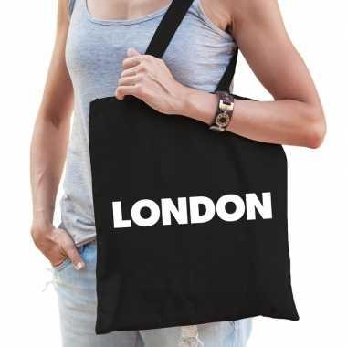 Goedkope katoenen londen/wereldstad tasje london zwart