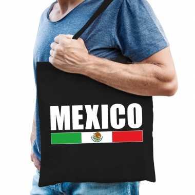 Goedkope katoenen mexicaans supporter tasje mexico zwart