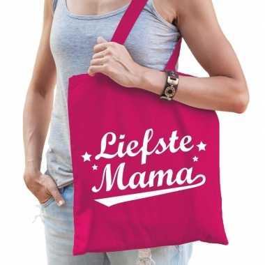 Goedkope katoenen moeder cadeau tasje liefste mama fuchsia roze