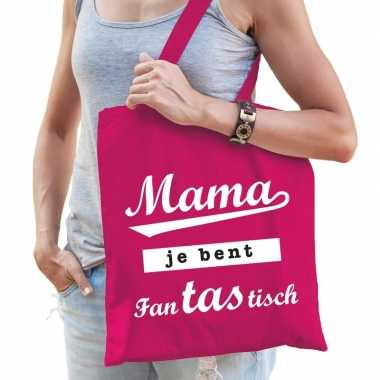 Goedkope katoenen moeder cadeau tasje mama je bent fantastisch roze