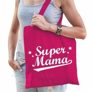 Goedkope katoenen moeder cadeau tasje super mama fuchsia roze