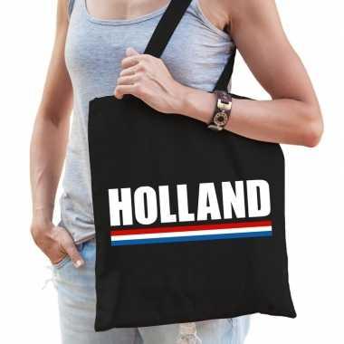 Goedkope katoenen nederland supporter tasje holland zwart