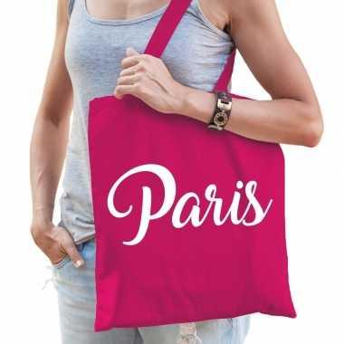 Goedkope katoenen parijs/wereldstad tasje paris roze