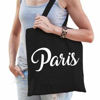Goedkope katoenen parijs/wereldstad tasje paris zwart