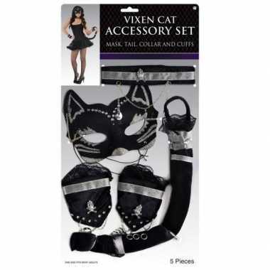Goedkope katten/poezen verkleed set zwart zilver